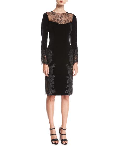 Rickie Freeman for Teri Jon Long-Sleeve Lace Velvet