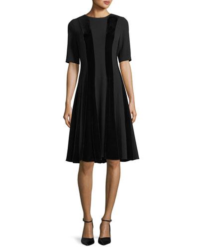 Short-Sleeve Velvet Panel A-Line Cocktail Dress