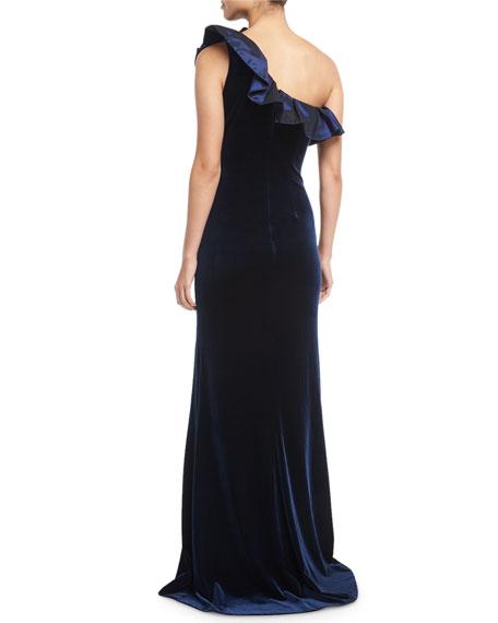 One-Shoulder Taffeta Ruffle Velvet Evening Gown