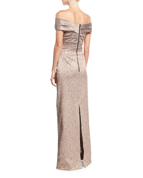 Off-the-Shoulder Metallic Jacquard Evening Gown
