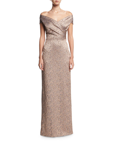 Rickie freeman for teri jon off the shoulder metallic jacquard rickie freeman for teri jon off the shoulder metallic jacquard evening gown neiman marcus junglespirit Gallery