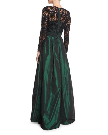Lace Long-Sleeve Beaded Top Taffeta Full Skirt Evening Gown