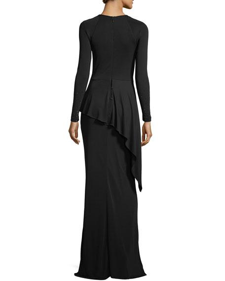 Beaded Long-Sleeve Matte Jersey Peplum Gown