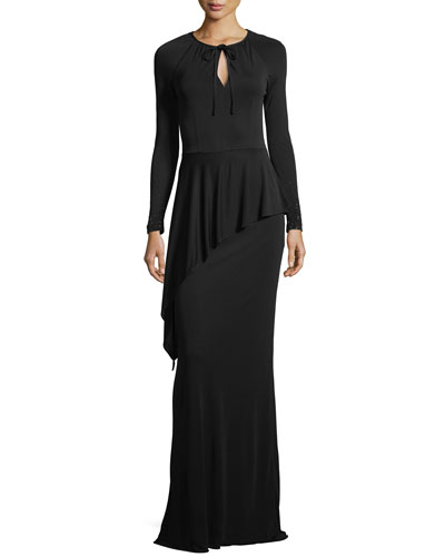 Beaded Long-Sleeve Matte Jersey Peplum Gown