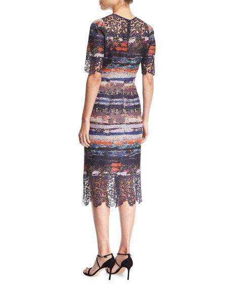 Elbow-Sleeve Printed Jacquard Sheath Cocktail Dress w/ Lace