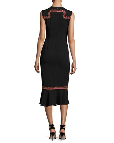Lotus Embroidered Sleeveless Midi Dress