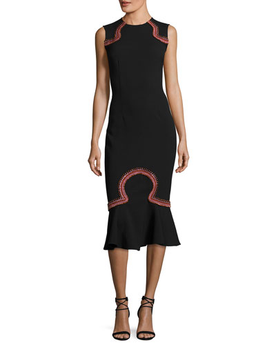 Lotus Embroidered Sleeveless Midi Dress