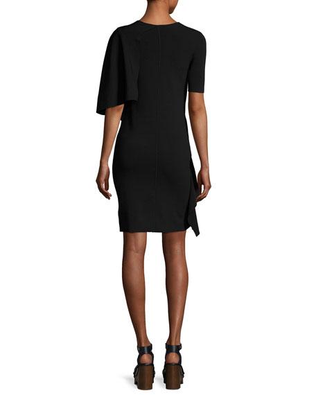 Crewneck Flounce Short-Sleeve Crepe Dress