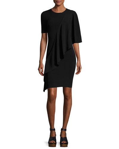 Crewneck Flounce Short-Sleeve Crepe Dress