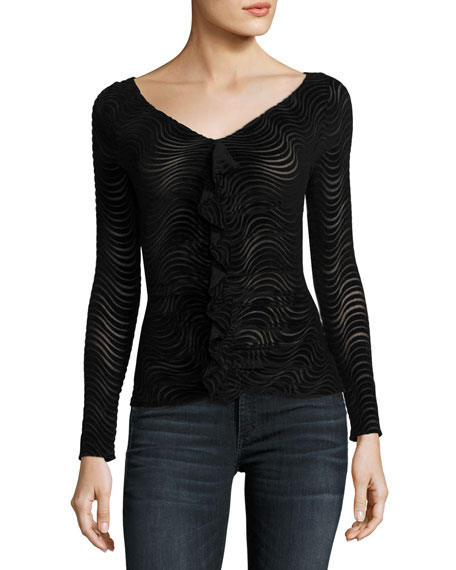 Devore Ruched V-Neck Top w/ Ruffled Frill