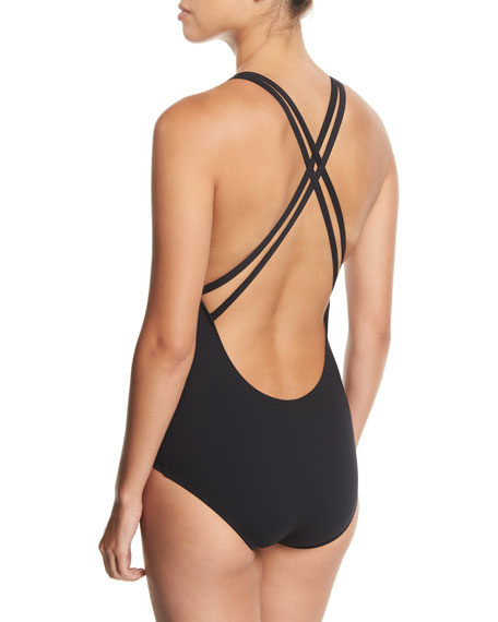 Crisscross-Back One-Piece Swimsuit