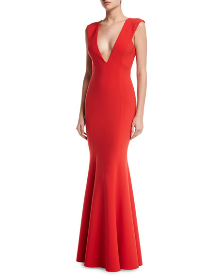 Jay Godfrey Victoria Sleeveless Deep V-Neck Mermaid Evening