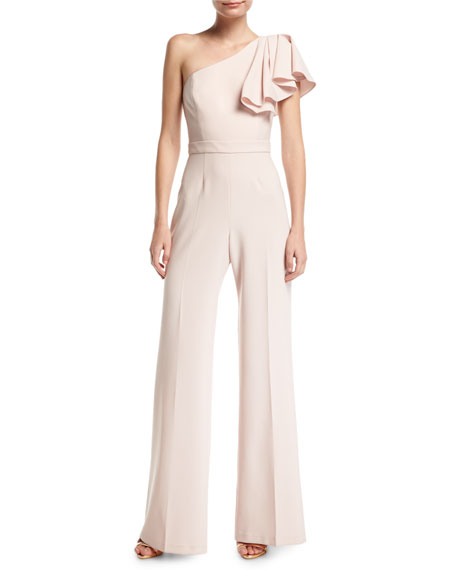 Jay Godfrey Hamilton One-Shoulder Wide-Leg Jumpsuit