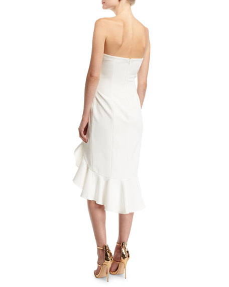 Harrington Strapless Bustier Ruffled High-Low Cocktail Dress