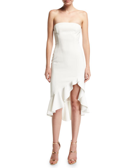 Harrington Strapless Bustier Ruffled High-Low Cocktail Dress