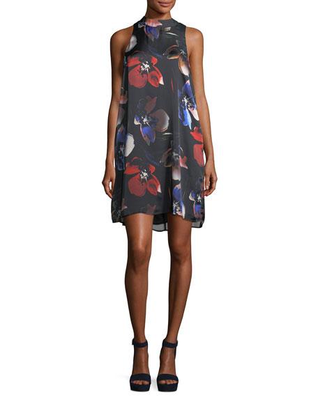 Mock-Neck Floral-Print Dress