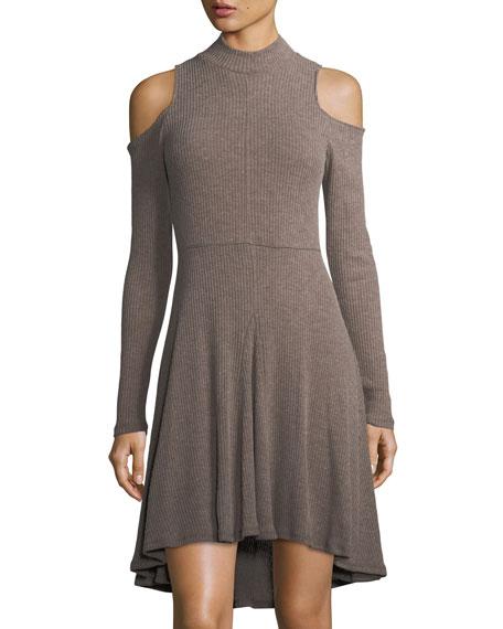 High-Low Cold-Shoulder Knit Dress