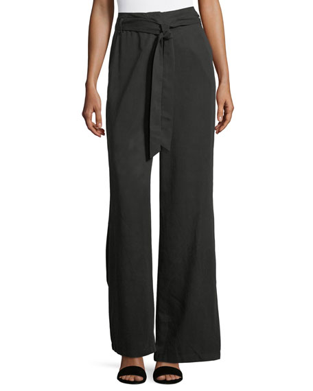 Matty M High-Waist Belted Flare-Leg Pants