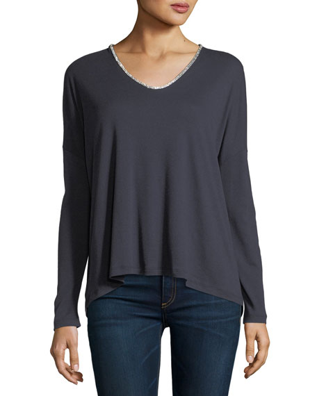 Majestic Paris for Neiman Marcus Long-Sleeve V-Neck T-Shirt