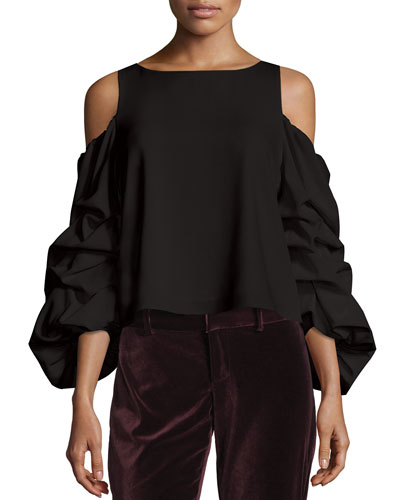 Cordelia Cold-Shoulder Ruffled-Sleeve Top