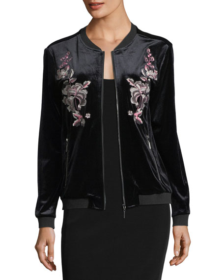 Love Scarlett Embroidered Velvet Bomber Jacket