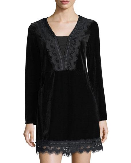 Matty M Velvet Lace-Trimmed Sheath Dress