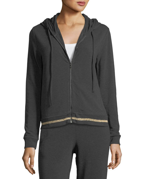 Majestic Paris for Neiman Marcus Contrast-Trim Zip-Front Hoodie