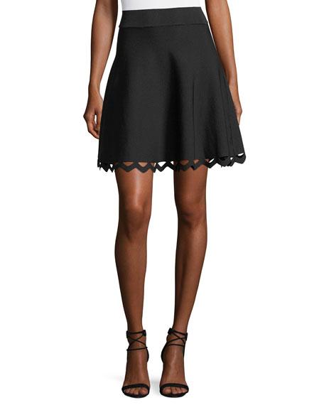 Cutout-Hem Flared Skirt