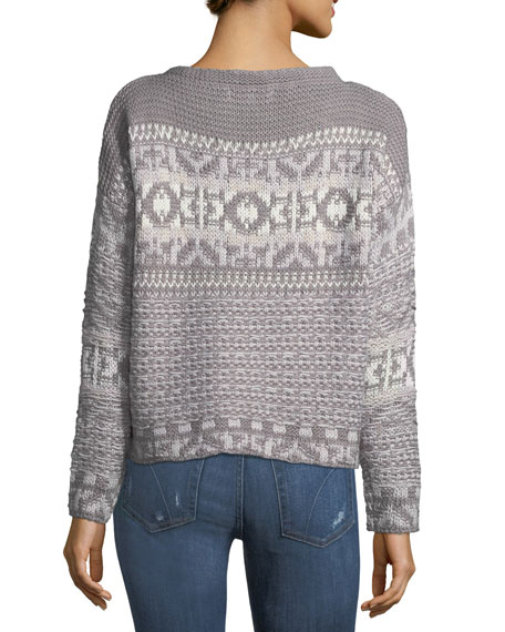 Jacquard-Knit Boat-Neck Sweater