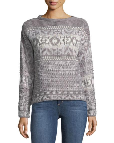 Jacquard-Knit Boat-Neck Sweater
