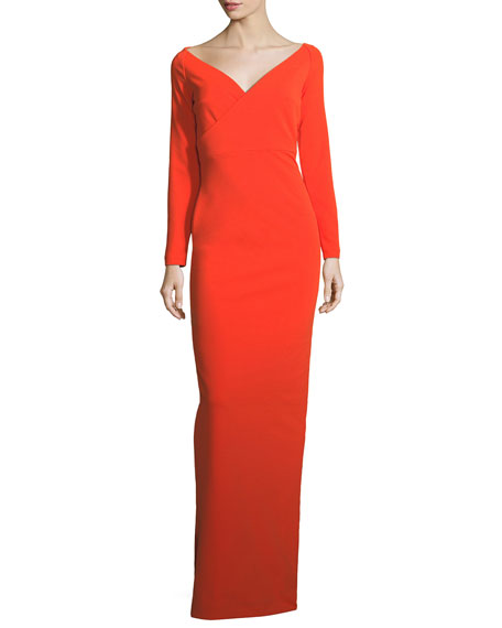 Solace London Victorie V-Neck Long-Sleeve Column Evening Gown
