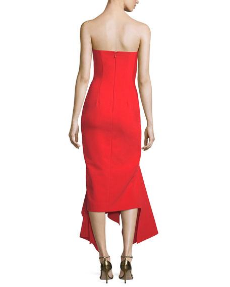 Veronique Strapless Draped Hem Midi Cocktail Dress
