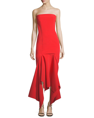 Veronique Strapless Draped Hem Midi Cocktail Dress