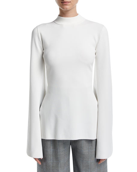 Solace London Adelia Mock-Neck Bell-Sleeve Fitted Top