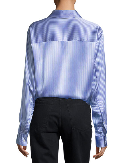 Menswear-Print Long-Sleeve Collared Silk Shirt