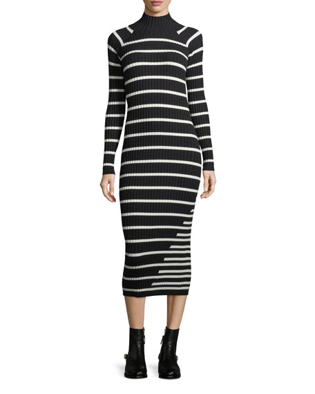 T by Alexander Wang Fitted Rib-Knit Intarsia Stripe