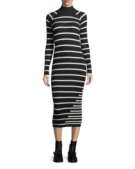 Fitted Rib-Knit Intarsia Stripe Turtleneck Dress