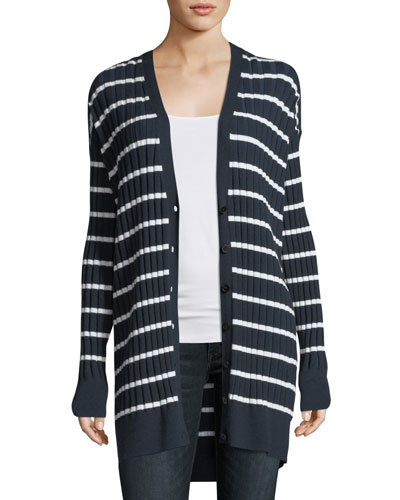 Striped Ribbed Long Cardigan Sweater