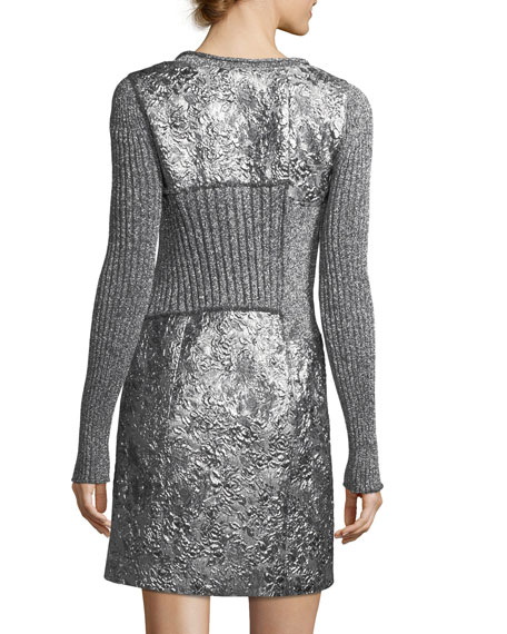 Long-Sleeve Metallic Rib-Knit Combo Dress