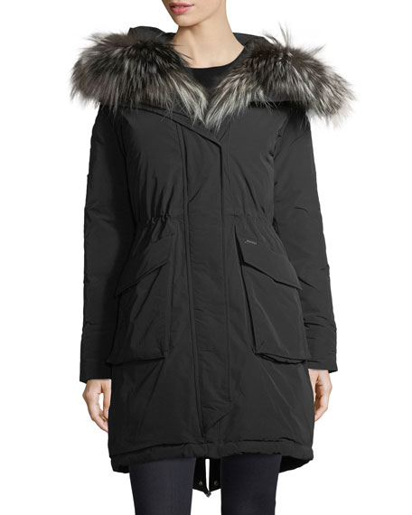 Military Hooded Midi Parka Coat w/ Fur Trim
