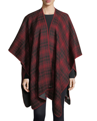 Plaid Oversized Cashmere Cape