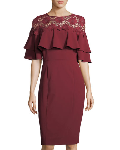 Lace-Yoke Ruffled Crepe Dress