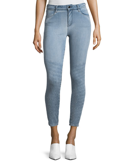 Brockenbow Dolly Mid-Rise Light-Wash Skinny Jeans w/ Topstitching