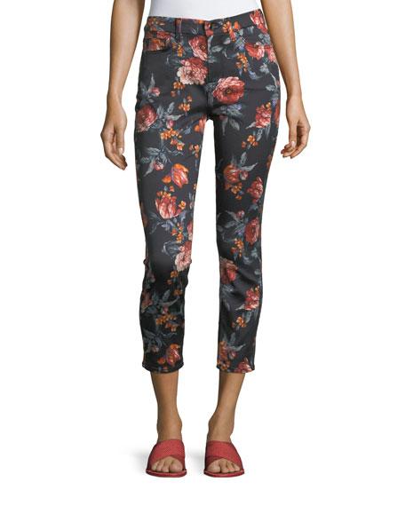 Floral-Print Skinny Ankle Jeans