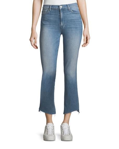Mother Denim Insider Crop Frayed Step-Hem Cropped Jeans