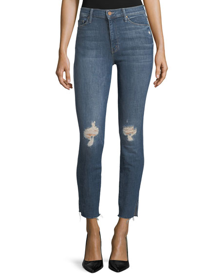 Mother Denim Vamp High-Rise Skinny Released-Hem Jeans