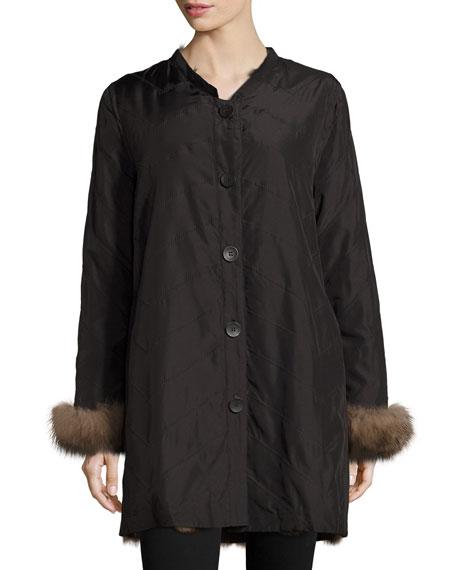 Reversible/Packable Fox Fur Long Coat, Black