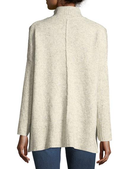 Ribbed-Sleeve Mock-Neck Sweater
