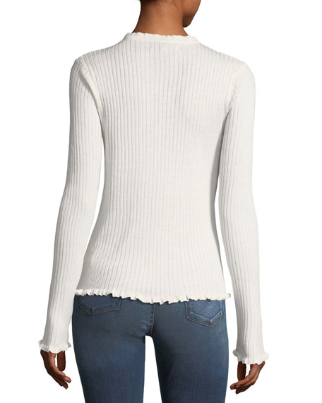 Ruffle-Trim Ribbed Sweater