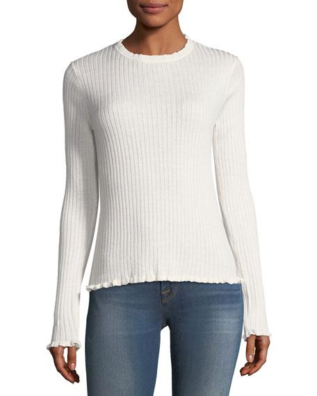 Ruffle-Trim Ribbed Sweater